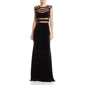 Aqua Mesh-inset Crushed Velvet Black Gown - Size 0